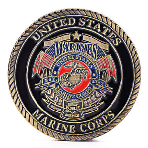 US MARINE CORPS GOLD PLATED COIN COLLECTION ART GIFT COMMEMORATIVE COINSJL