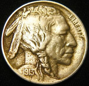 FULL HORN EF 1913 D TYPE 1 BUFFALO NICKEL 5 MOUND VARIETY I XF CONDITION FY72MN
