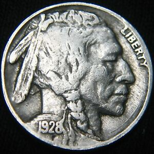 ORIGINAL 1928 P BUFFALO NICKEL 5  FX32IB