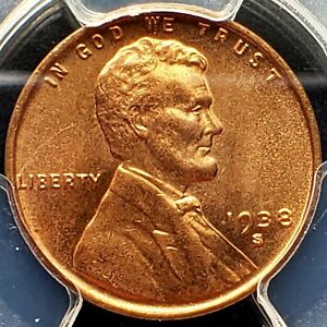1938 S LINCOLN CENT PCGS MS66 RED BU GEM WHEAT PENNY EARLY PENNIE FS 501 RPM