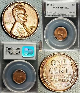 1931 D UNC.   1944S LINCOLN CENT PCGS MS66 RED BU GEM WHEAT PENNY 2 COINS