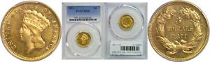 1871 $3 GOLD COIN PCGS MS 62