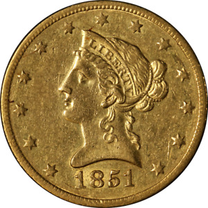 1851 O LIBERTY GOLD $10 NO MOTTO CHOICE AU DETAILS GREAT EYE APPEAL