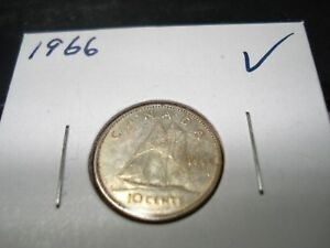 1966   CANADA 10 CENT   SILVER CANADIAN DIME