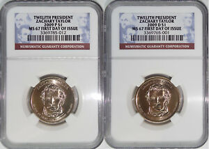 Click now to see the BUY IT NOW Price! 2009 P & D 12TH PRESIDENT ZACHARY TAYLOR MS67 FIRST DAY OF ISSUE 2 COIN SET