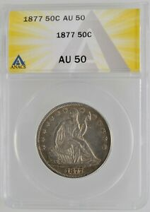 1877 SEATED LIBERTY HALF DOLLAR GRADED ANACS AU 50 SILVER 1/2 $1 FIFTY CENT COIN
