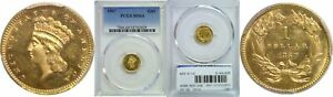 1867 $1 GOLD COIN PCGS MS 64