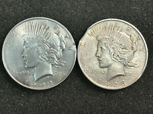 1922 & 1923 PEACE SILVER DOLLARS ERROR CLIP CLIPPED PLANCHETS