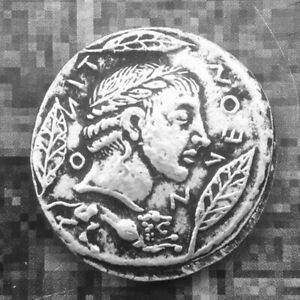 SILVER PLATED GREEK ANCIENT ANIMAL COIN THE GREAT GREEK COIN  NO.009