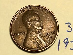 1938 S LINCOLN CENT1C WHEAT PENNY 3127K