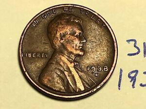 1938 S LINCOLN CENT1C WHEAT PENNY 3126K