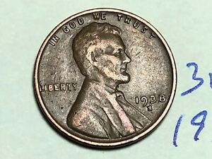 1938 S LINCOLN CENT1C WHEAT PENNY 3123K
