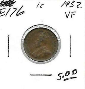 E176 CANADA 1C   1 CENT COIN 1932 FINE   BUY IT NOW