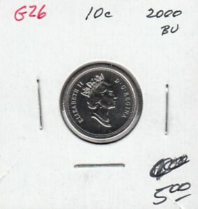 G26 CANADA 10C   10 CENTS COIN 2000 BRILLIANT UNCIRCULATED $5.00