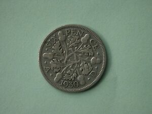 CIRCULATED 1930 SIXPENCE GEORGE V SILVER