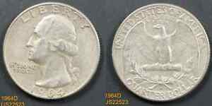 1964 D WASHINGTON CIRCULATED SILVER QUARTER  IN UNITED STATES