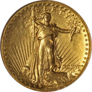 1907 SAINT GAUDENS GOLD $20 HIGH RELIEF NGC AU58 GREAT EYE APPEAL STRONG STRIKE