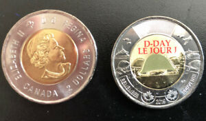 2019 Canada D-Day Toonie $2 Dollar Coin Colour UNC From Roll