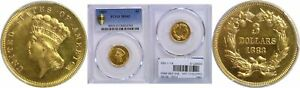 1883 $3 GOLD COIN PCGS MS 63