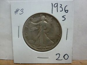 1936 S WALKING LIBERTY SILVER HALF DOLLAR 3