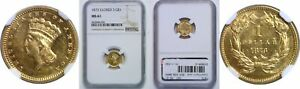 1873 $1 GOLD COIN NGC MS 61 CLOSED 3