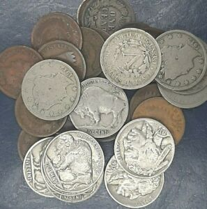 VINTAGE COIN LOT 1 INDIAN HEAD PENNY 1 LIBERTY NICKEL 1 BUFFALO NICKEL