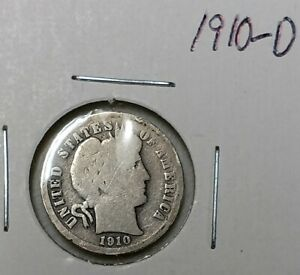 A SILVER BARBER DIME FROM 1910  D MINT