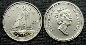CANADA 1998 PROOF LIKE GEM TEN CENT DIME