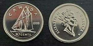 CANADA 1998W PROOF LIKE GEM TEN CENT DIME