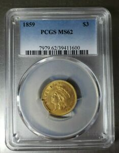 1859 $3 GOLD INDIAN PRINCESS GOLD COIN PCGS GRADED MS62