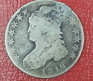 1819 CAPPED BUST HALF DOLLAR REPAIRED
