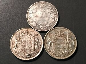 3  CANADIAN FIFTY CENT PIECES   1916   1940   1953   MONARCH TYPES   HIGH GRADE