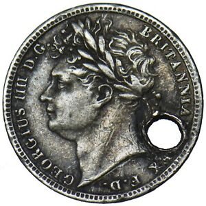 1822 MAUNDY PENNY 1D   GEORGE IV BRITISH SILVER COIN  HOLED