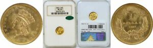 1862 $1 GOLD COIN NGC MS 65 CAC