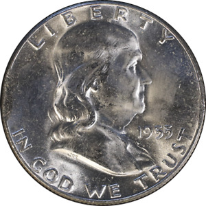 1955 P FRANKLIN HALF DOLLAR   ERROR   CLIPPED PLANCHET GREAT DEALS FROM THE EXEC