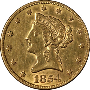 1854 P LIBERTY GOLD $10 NO MOTTO CHOICE AU/BU DETAILS GREAT EYE APPEAL
