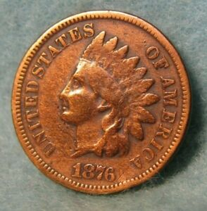 1876 INDIAN HEAD PENNY SMALL CENT VG    UNITED STATES COIN 4175