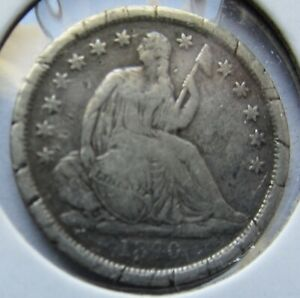 1840 O NO DRAPERY  SEATED LIBERTY SILVER DIME  DATE VF DETAIL