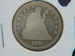 1876 CC SEATED LIBERTY QUARTER  DATE CARSON CITY