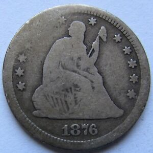 1876 CC SEATED LIBERTY QUARTER VG DETAILS   SEE PHOTOS
