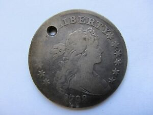 1798 DRAPED BUST SILVER DOLLAR VG DETAIL HOLED