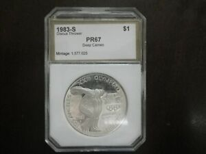 1983 S PROOF DEEP CAMEO OLYMPIC DISCUS THROWER LOS ANGELES COMMEMORATIVE $1 COIN