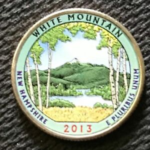 2013 COLORIZED WHITE MOUNTAIN  NEW HAMPSHIRE  AMERICA THE BEAUTIFUL QUARTER