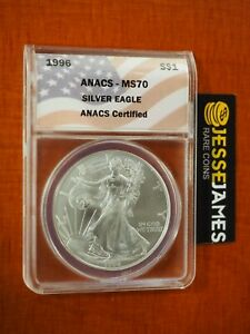 Click now to see the BUY IT NOW Price! 1996 $1 AMERICAN SILVER EAGLE ANACS MS70 FLAG LABEL KEY DATE