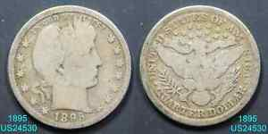 1895 BARBER QUARTER CIRCULATED 90  SILVER  IN UNITED STATES
