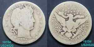 1915 D BARBER QUARTER CIRCULATED 90  SILVER COIN DENVER MINT  IN US