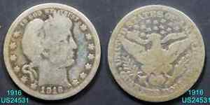 1916 BARBER QUARTER CIRCULATED 90  SILVER  IN UNITED STATES