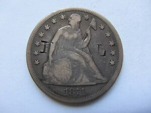 1871 SEATED LIBERTY SILVER DOLLAR FINE DETAIL COUNTERSTAMPED F.L.