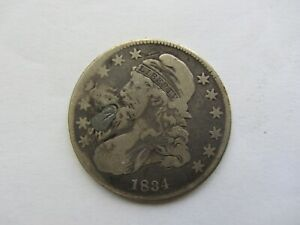 1834 CAPPED BUST HALF DOLLAR FINE DETAILS PLUGGED FILLER   SEE PHOTOS