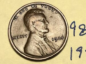 1925 1C BN LINCOLN CENT 9832W WHEAT PENNY
